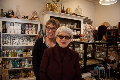 Luisa Cerutti of Italy (front) and Nicki Lindheimer (back) stand in their shop in Hell's Kitchen on October 31st, 2017.